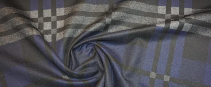 Kaschmir DoubleFace - dunkelblaues Karo