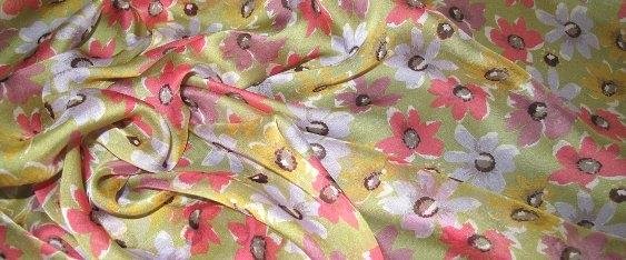 Chiffon - Blumenmotiv, grün