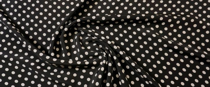 schwere Seide - Punkte auf schwarz