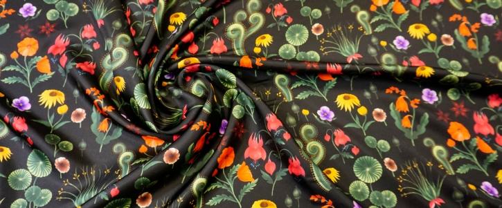 Seidentwill - Blumen auf schwarz
