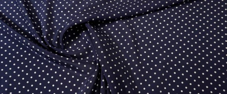 Seidencrepe - Punkte auf dunkelblau