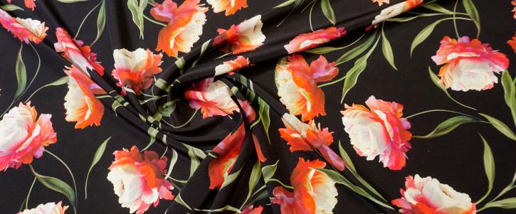 Seidencrepe - Blumen auf schwarz