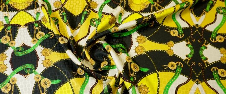 Seidenjacquard - Ketten auf gelb