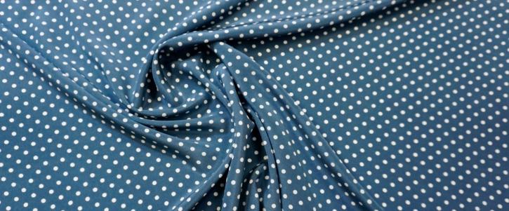 Seidencrepe - Punkte auf blaugrau