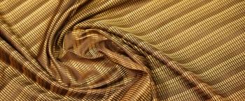 Seidenjacquard - gold mit braun