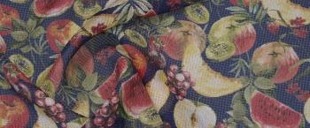 Seersucker - Obst auf nachtblau