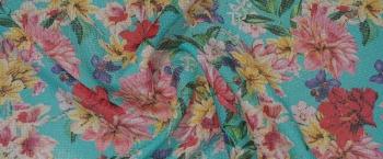 Seersucker - Blumen auf türkis
