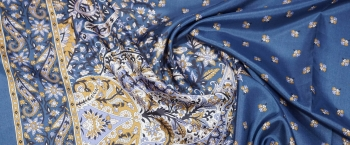 Bordürenseide - blau mit goldenen Ornamenten
