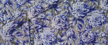 Seide - blaue Rosen auf grün/grau