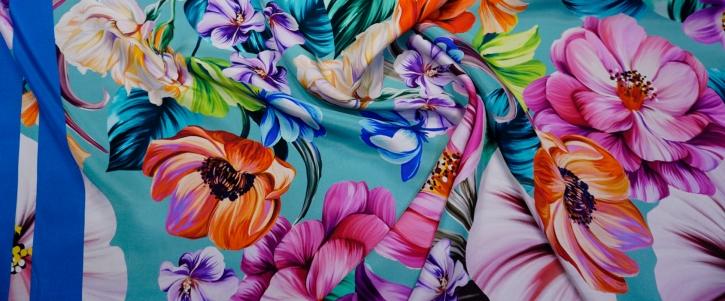 Seide - Blumen mit Bordüre