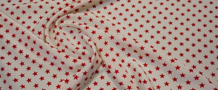 Seidencrepe - Sterne, weiß/rot