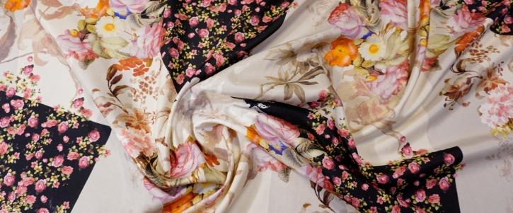 Seide - Blumen auf schwarz und beige