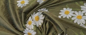bestickte Wildseide - Blumenbordüre