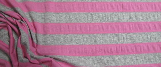 Baumwolle/Lycra grau-rosa gestreift