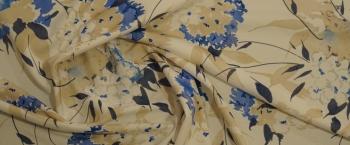 Seidenjersey - Blumen in sand und blau