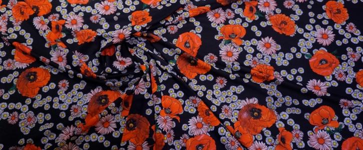 Seidenjersey - Mohnblumen auf schwarz