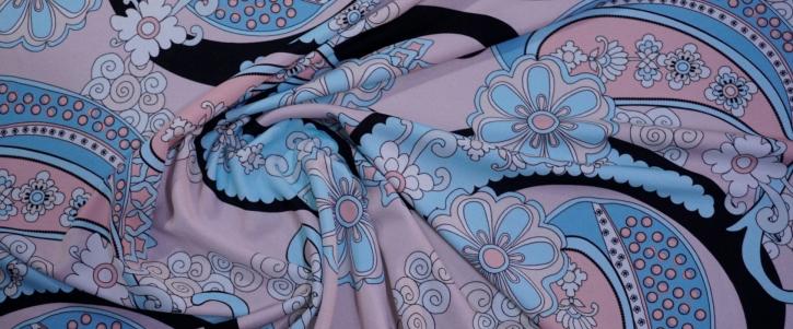 Seidenjersey - rosa mit hellblau