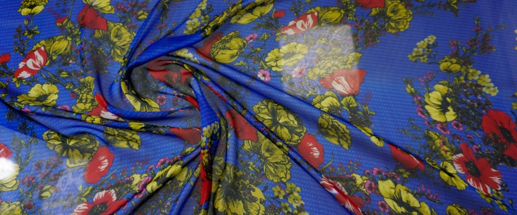 Seidenchiffon - Mohnblumen auf blau