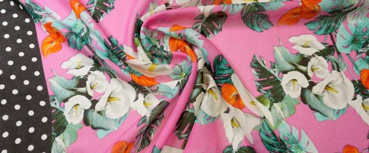 Seide - Flamingoblüten mit Bordüre