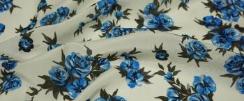 Seide - blaue Blumen auf beige