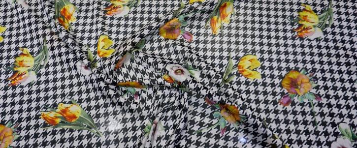 Seidenstretch - Tulpen auf Hahnentritt