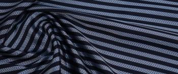 Jacquardseide - blau gestreift