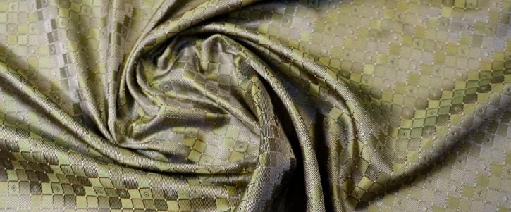 Seidenjacquard - geometrisch grün