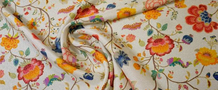 Seide mit Lurex - florales Muster