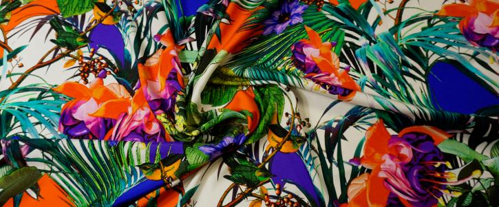 Seidenstretch - Vögel und Blumen