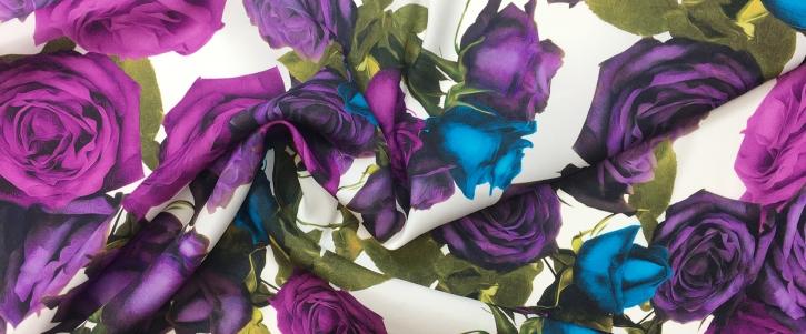 elastische Seide - lila Rosen