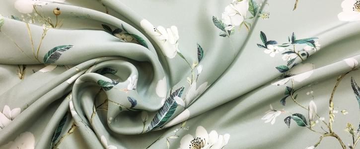 Seidenstretch - Blüten auf grau