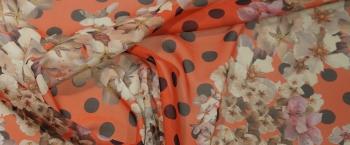 elastischer Chiffon - Blumen und Polka dots