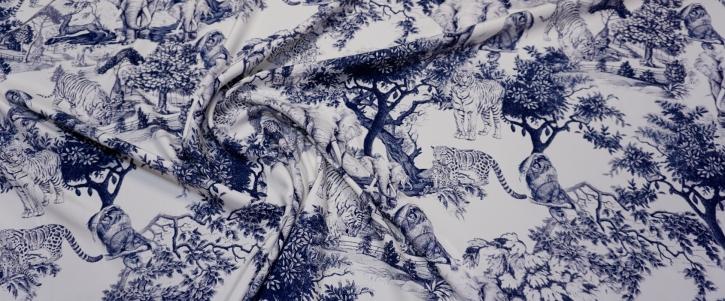 Seidenstretch - Tiere in blau auf weiß