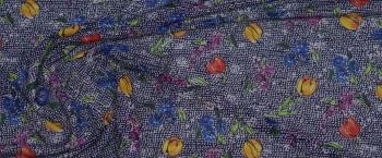 Seidenstretch - Blumen auf blau/weiß