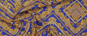 Seidenstretch - blau mit gold