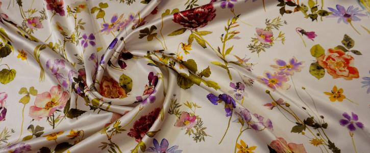 Seidensatin - Blumen