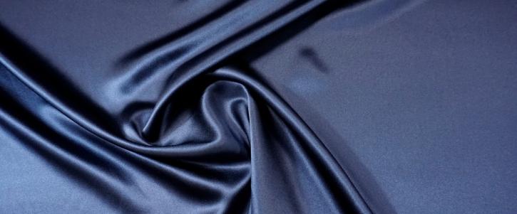 Rest, schwerer Seidensatin - dunkelblau