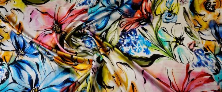 Seidensatin - gemalte Blumen
