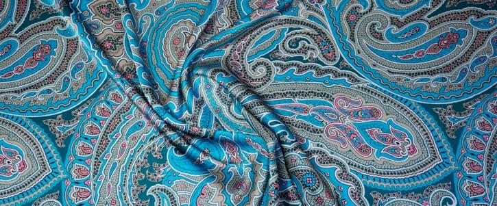 Seidensatin - großes Paisley in blau