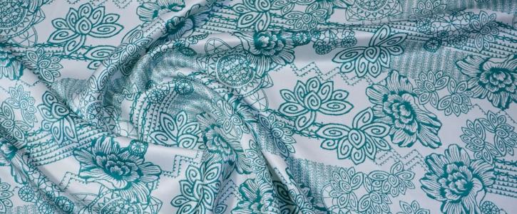 Seidensatin - grün mit weiß