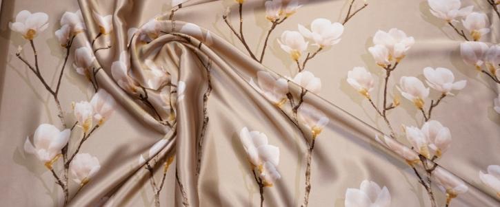 Seidensatin - Blumenbordüre