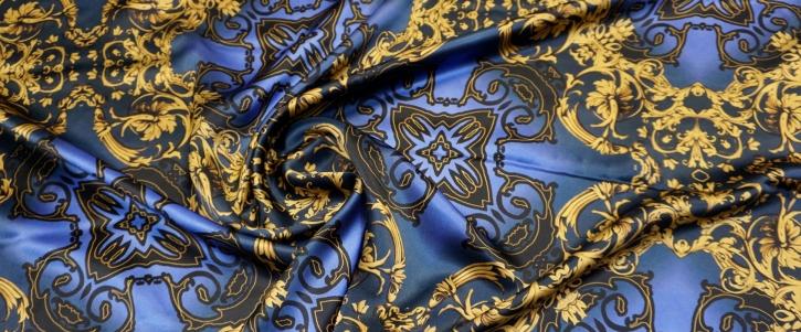 Seidensatin - gold mit blau