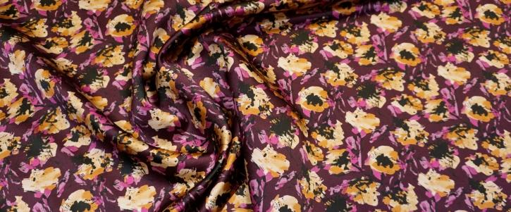 Seidensatin - gelbe Blüten auf lila