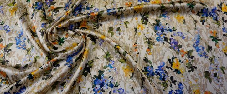 Seidensatin - Blumenwiese auf creme