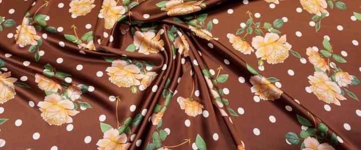 Seidensatin - polka dots mit Rosen