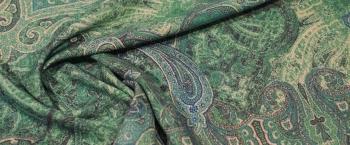 Seide mit Schurwolle - grünes Paisley