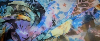 Coupon Chiffon - Floral mit animal print