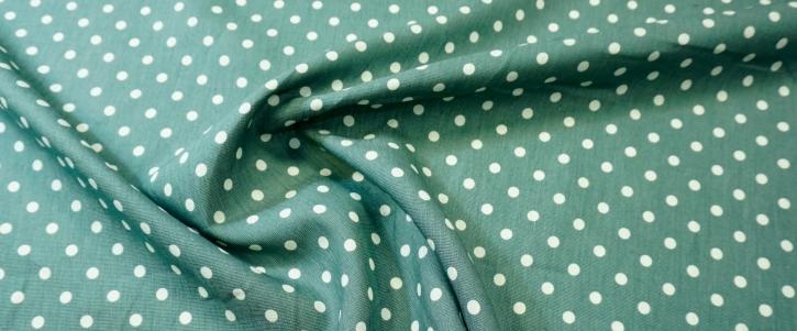 mittelschweres Leinen - Punkte auf grün