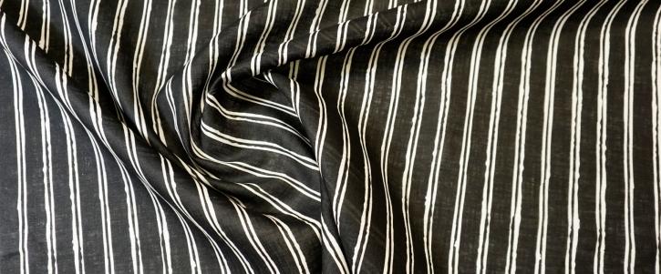 Leinen - Streifen auf schwarz