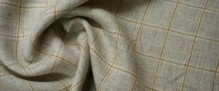 Leinen - gewebtes Karo in grau/beige